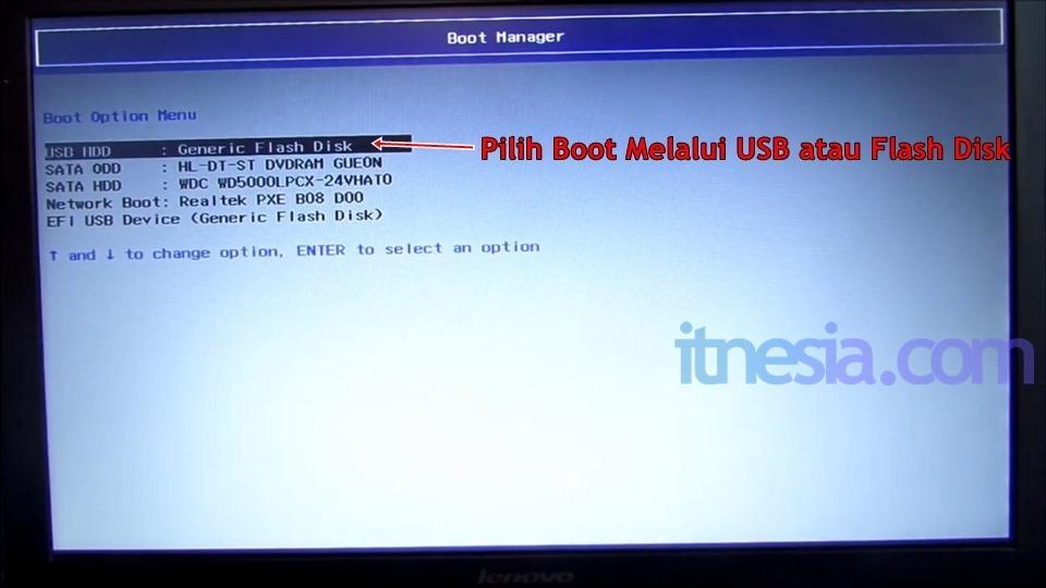 Cara instal android ke pc - Pilih USB atau Flashdisk sebagai media boot