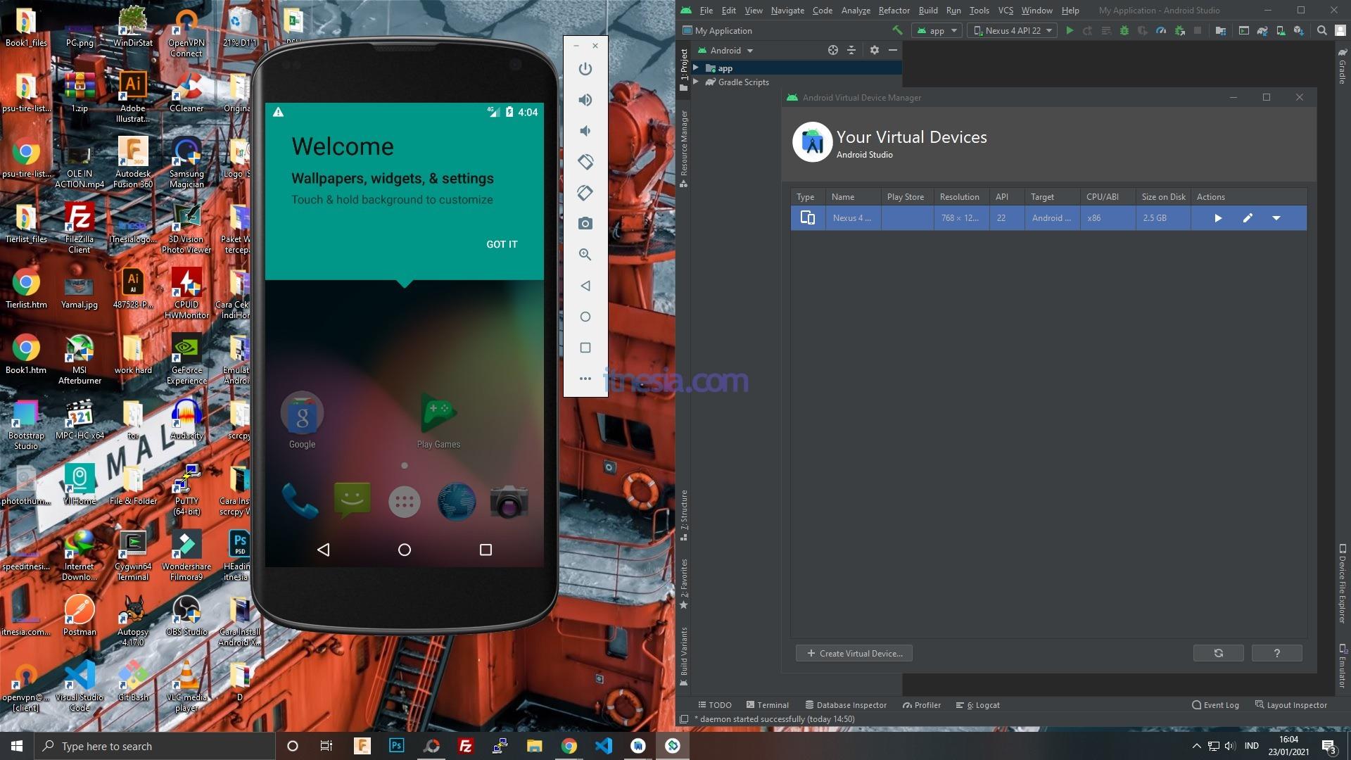 Emulator Android Pada Android Studio Menampilkan Google Nexus Sebagai Virtual Device Beroperasi Menggunakan Android Lollipop