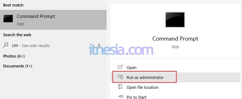 Jalankan Command Prompt (CMD) Sebagai Administrator
