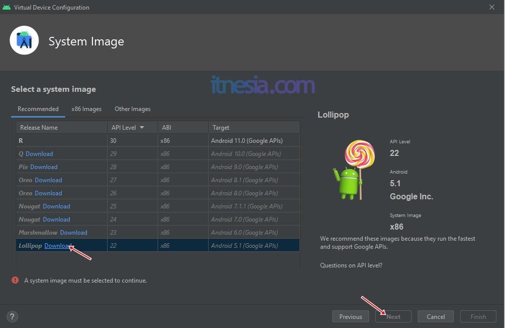 Pemilihan Versi Android Untuk Emulator Android Studio