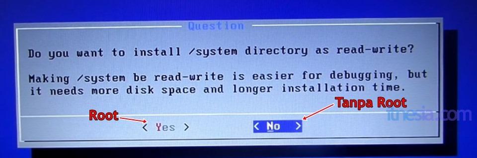 Pilihan Root Atau Tidak Pada Android x86