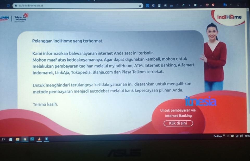 Halaman Isolir WiFi IndiHome Pada Perangkat Laptop