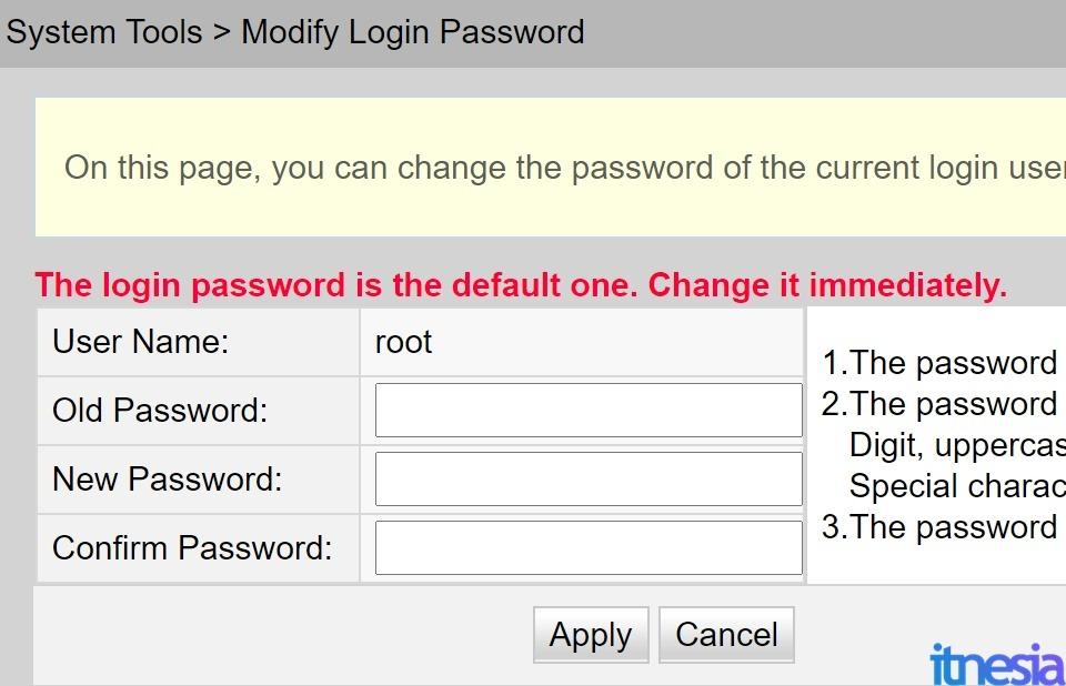 Mengganti Password Login Ke Halaman Konfigurasi Router
