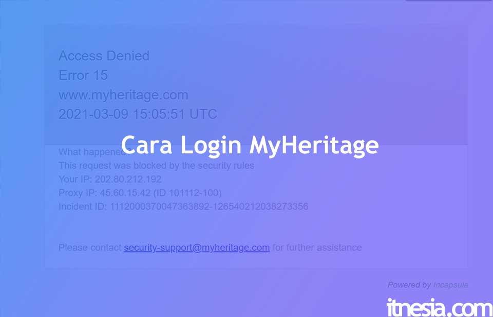 Cara Login Aplikasi MyHeritage Access Denied Error 15