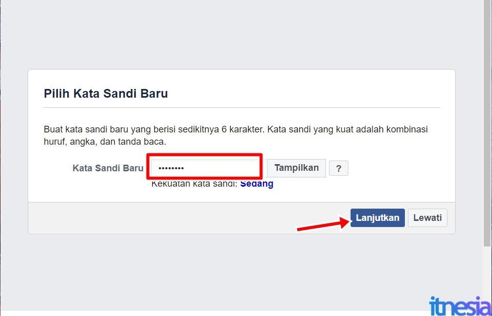 Cara Mengembalikan Akun FB Yang Dibajak - Buat Kata Sandi Baru Lalu Tekan Lanjutkan
