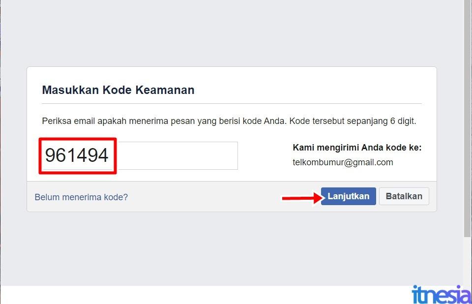 Cara Mengembalikan Akun FB Yang Dibajak - Masukkan Kode Keamanan Lalu Tekan Tombol Lanjutkan
