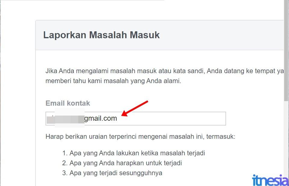 Cara Mengembalikan Akun FB Yang Dibajak Tanpa Email Dan Nomor Telepon - Masukan Alamat Email Yang Bisa Dihubungi