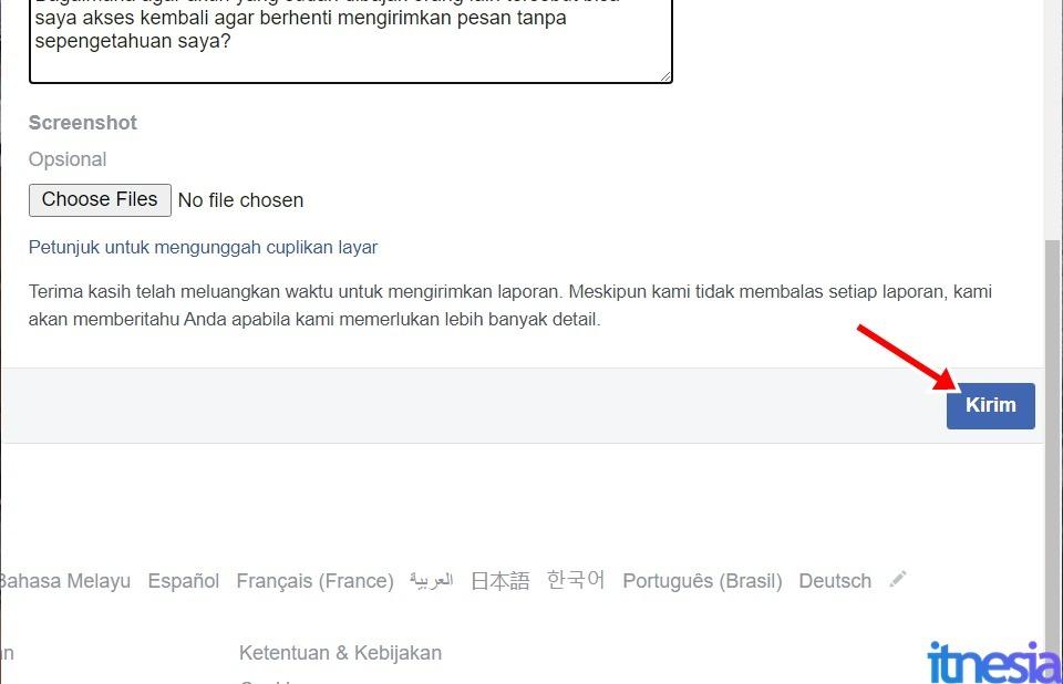Cara Mengembalikan Akun FB Yang Dibajak Tanpa Email Dan Nomor Telepon - Tekan Tombol Kirim Lalu Tunggu Balasan Dari Pihak Facebook Terkait Masalah Yang Dilaporkan