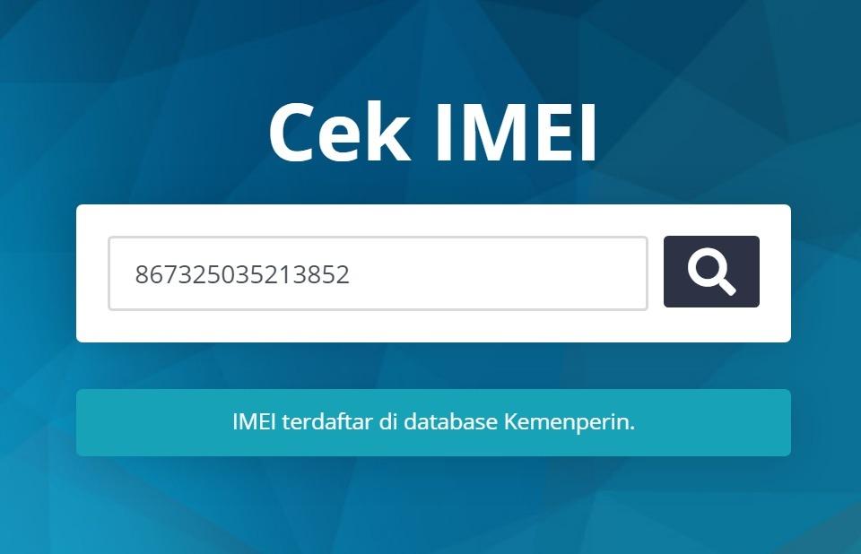 Contoh IMEI Xiaomi Yang terdaftar di database Kemenperin