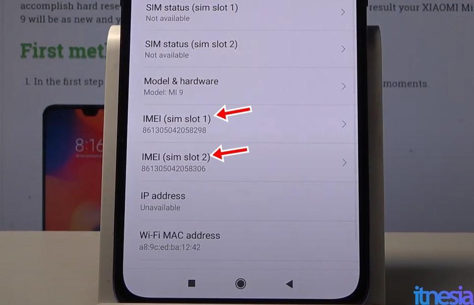 Informasi IMEI Xiaomi Pada Halaman Status
